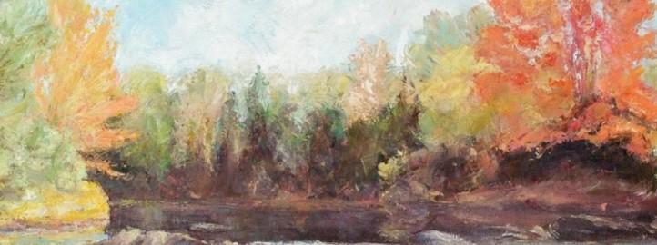 Река, уље на платну - Милош Бојовић