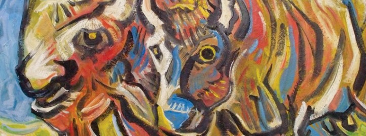 Buffalo, oil on canvas - Miloš Bojović