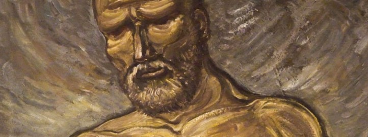 Old fisherman, oil on canvas - Miloš Bojović