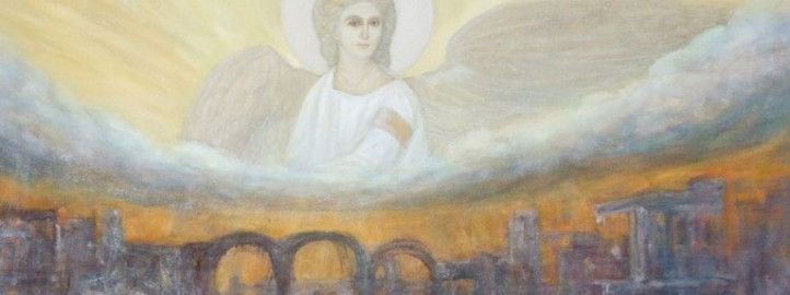 Бели анђео, уље на платну - Милош Бојовић
