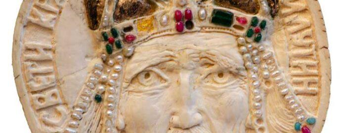 Краљ Милутин, кост, детаљ са Кивота Светог Саве - Војислав Билбија